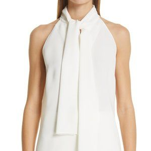 NWT LAFAYETTE 148 Amore Tie Neck Blouse In Cloud